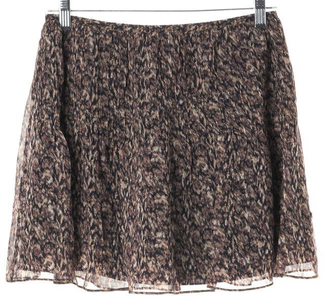JOIE Brown Silk Abstract Mini Skirt