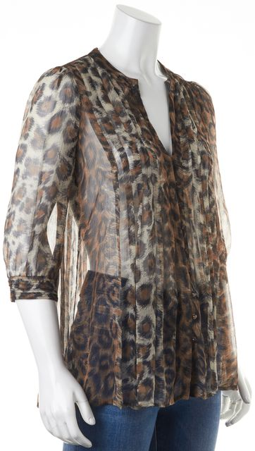 JOIE Brown Black Beige Leopard Print Button Front Sheer Blouse Top