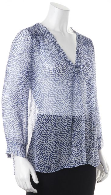 JOIE Blue White Silk Sheer Relaxed Fit Blouse Top