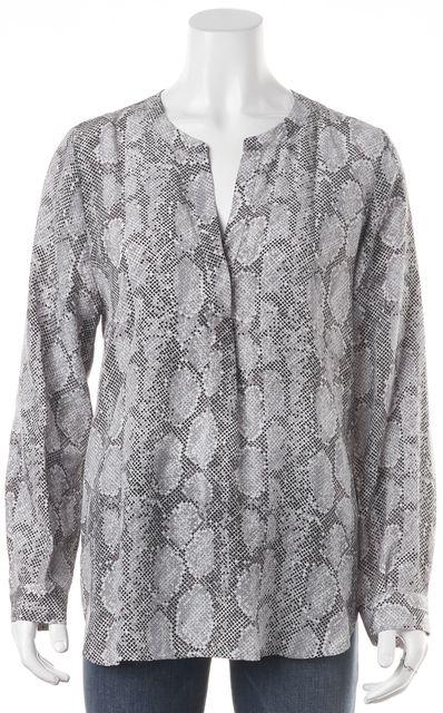 JOIE Gray Black White Graphic Long Sleeve V-Neck Silk Blouse Top