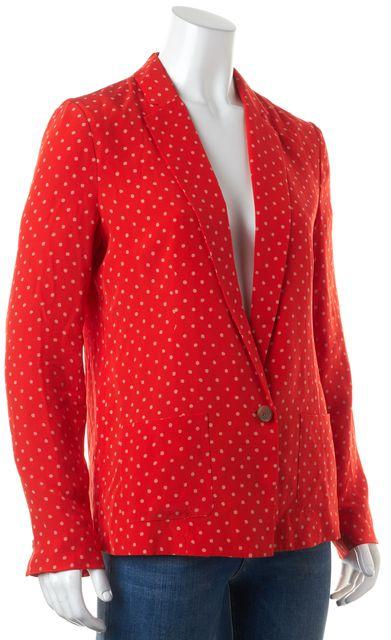 JOIE Red White Polka Dot Silk Basic One Button Blazer Jacket