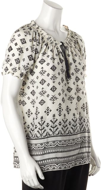JOIE White Black Geometric Print Silk Relaxed Fit Blouse Top