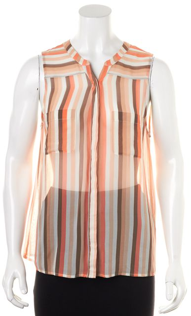 JOIE Beige Orange Striped Sheer Silk Button Down Shirt
