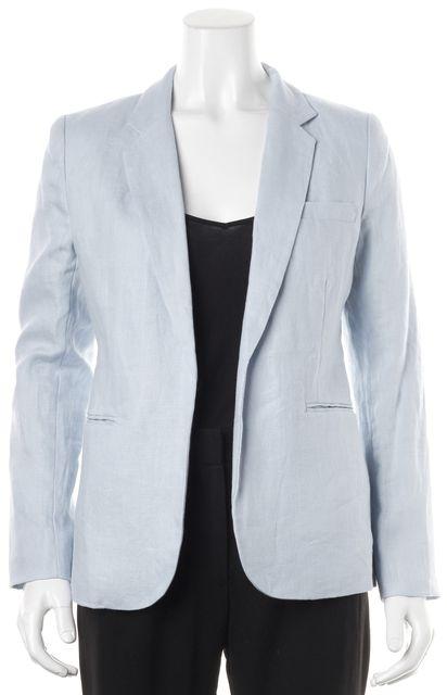 JOIE Baby Blue Linen Pocket Front Open Blazer