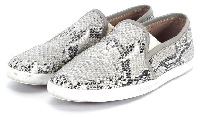 JOIE Gray White Black Snakeskin Leather Kidmore Slip-On Sneakers
