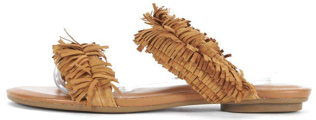 JOIE Brown Suede Pippa Fringe Flat Slip-On Sandals