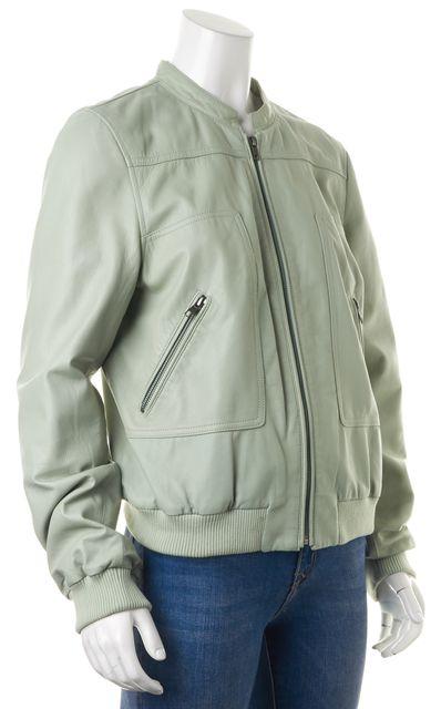JOIE Seafoam Green Leather Zip-Up Motorcycle Jacket