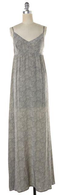 JOIE White Black Geometric Silk Maci Empire Waist Dress