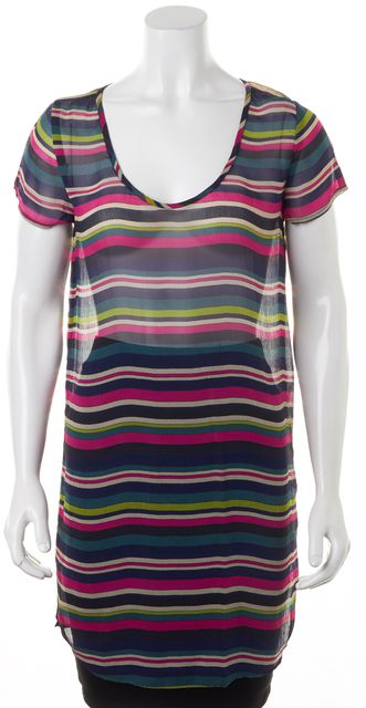 JOIE Multi-Color Striped Sheer Crepe Silk Short Sleeve Tunic Top Blouse
