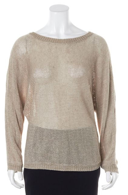 JOIE Beige Sheer Linen Medium Knit Top