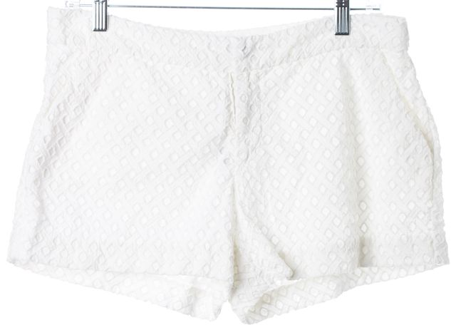 JOIE White Laser Cut Overlay Cotton Casual Shorts