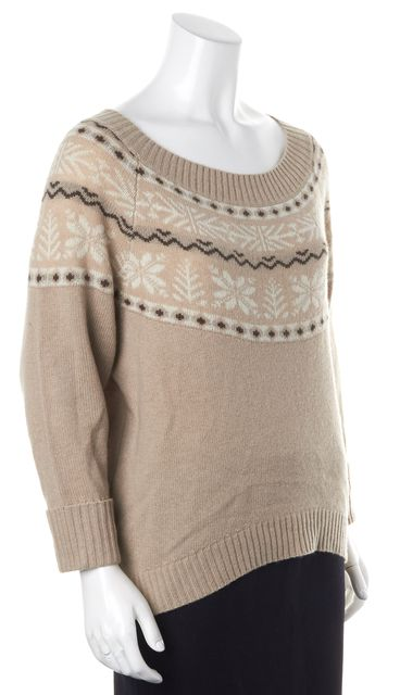 JOIE Beige Wool Cashmere Thin Knit Boat Neck Holiday Sweater