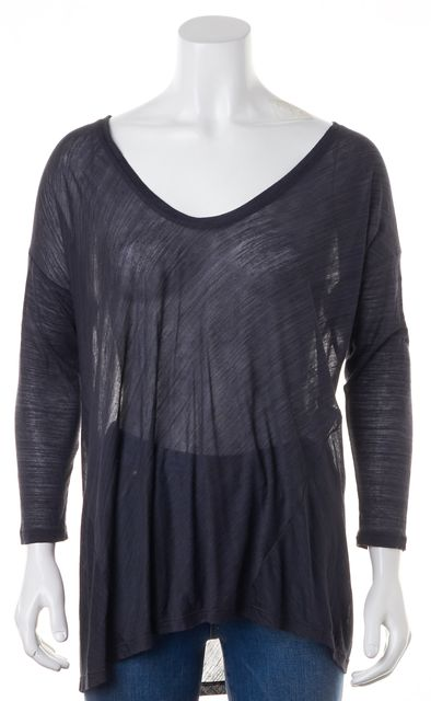 JOIE Navy Blue Scoop Neck Long Sleeve Rayon Blouse Top