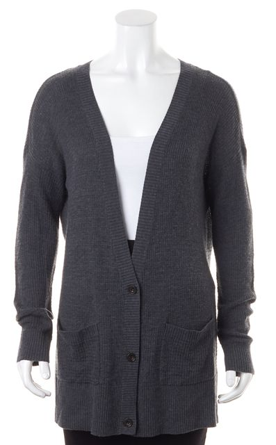 JOIE Gray Long Sleeve Polyester Knit Casual Cardigan Sweater