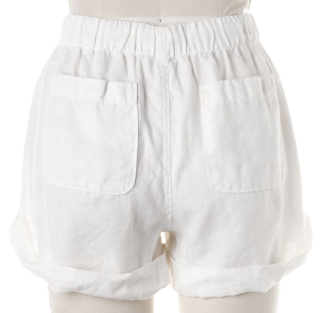 JOIE Ivory Linen Rolled Hem Elastic Waist Casual Shorts