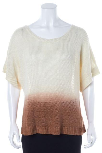 JOIE Ivory Brown Ombre Dolman Sleeved Linen Medium Knit Top