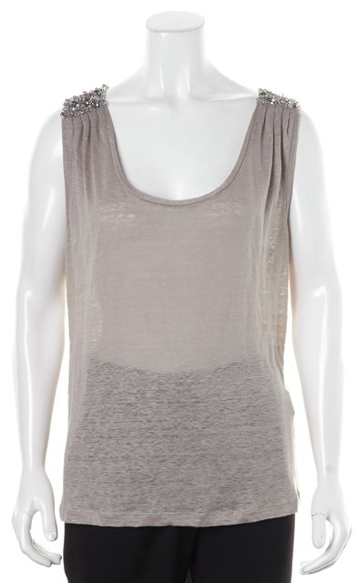 JOIE Light Gray Thin Knit Sequin Beaded Shoulder Top