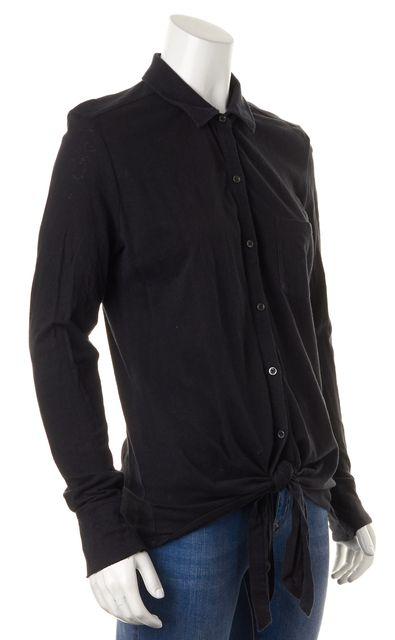 JOIE Solid Black Button Down Cotton Shirt