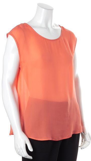 JOIE Orange Sheer Crepe Silk Sleeveless Blouse Top