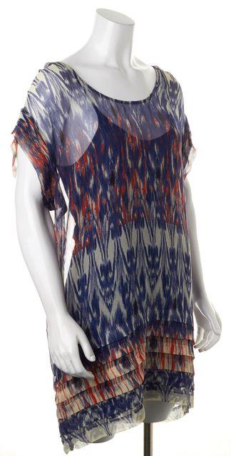 JOIE Blue Orange Abstract Ikat Print Semi Sheer Silk Tiered Hem Shift Dress
