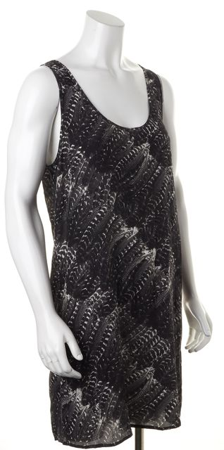 JOIE Black Graphic Feather Printed Silk Sleeveless Shift Dress