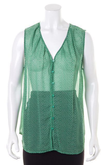 JOIE Medium Green White Flora Print Sleeveless Crepe Silk Blouse