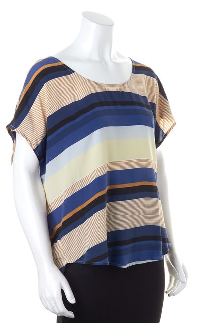 JOIE Blue Navy Brown Beige Striped Crepe Silk Blouse