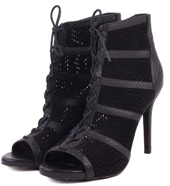 JOIE Black Perforated Suede Snakeskin Leather Trim Peep Toe Ankle Boots