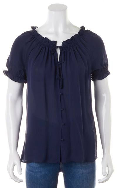 JOIE Navy Blue Ruffle Neck Button Up Crepe Silk Short Sleeve Blouse