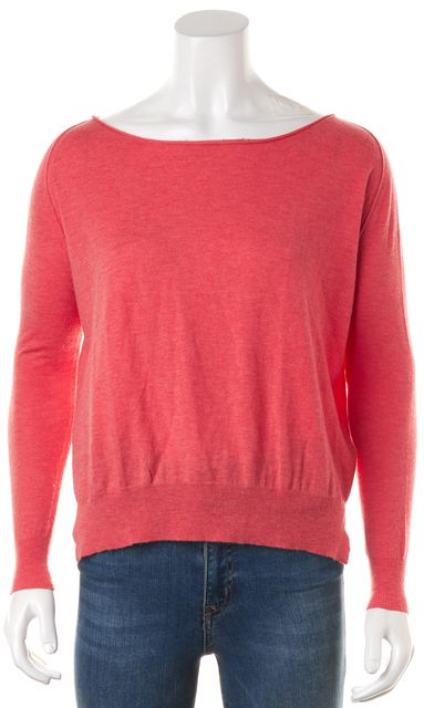 JOIE Coral Pink Raw Edge Light Wide Crewneck Sweater