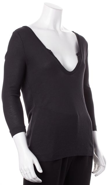 JOIE Black Cotton Scoop Neck 3/4 Sleeves Ribbed Knit Top