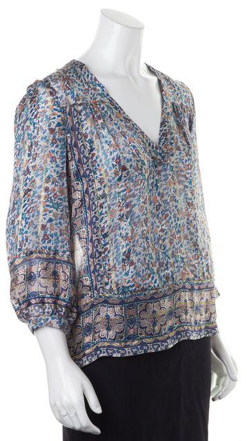 JOIE Pink Blue Metallic Floral Silk V-Neck Sheer Blouse Top