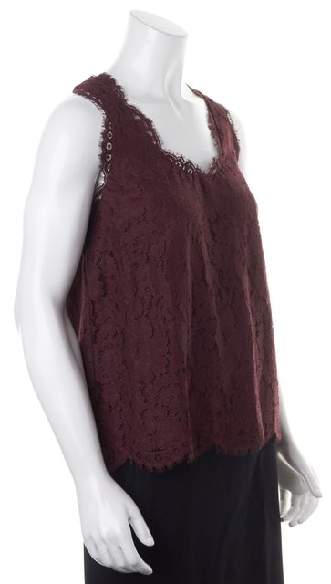 JOIE Burgundy Red Floral Lace Overlay Sleeveless Blouse Top