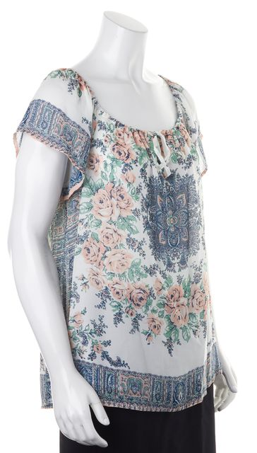 JOIE White Pink Blue Floral Silk Cap Sleeve Peasant Blouse Top