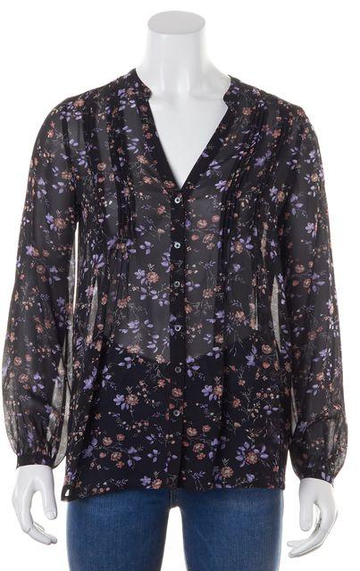 JOIE Black Pink Purple Floral Silk Long Sleeve Sheer Blouse Top