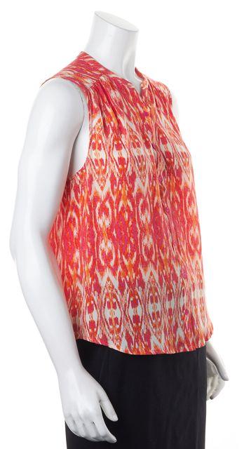 JOIE Pink Orange White Ikat Silk Sleeveless Blouse Top