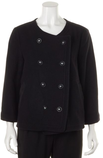 JOIE Solid Black Double Breasted Wool Jacket