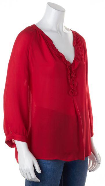 JOIE Red Silk Long Sleeve Split Neck Ruffle Trim Blouse Top