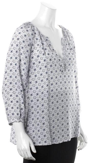 JOIE White Blue Geometric Rose Print Semi-Sheer Silk Blouse