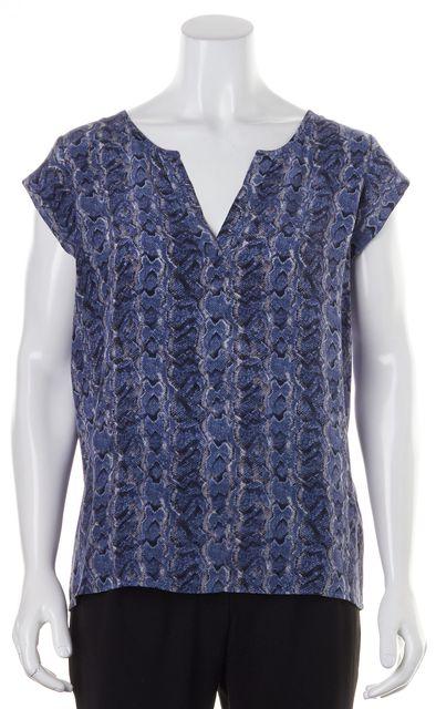 JOIE Blue Animal Print Silk Cap Sleeve V-Neck Blouse Top