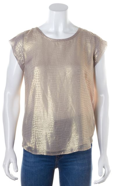 JOIE Metallic Gold Animal Printed Keyhole Back Rancher Top Blouse