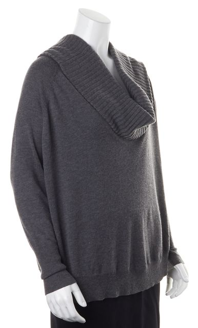JOIE Gray Knit Long Sleeve Ribbed Cowl Neck Sweater