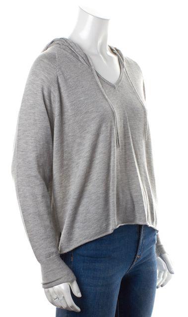 JOIE Heather Gray Semi Sheer Medium Knit V-Neck Hooded Sweater