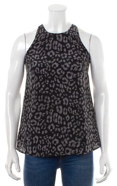 JOIE Gray Black Leopard Print Casual Silk Tank Top