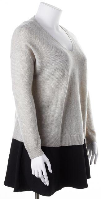 JOIE White Gold Metallic Thread Wool Blend V-Neck Sweater