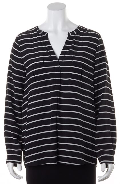 JOIE Black White Striped Silk Long Sleeve Pocket Front Blouse Top