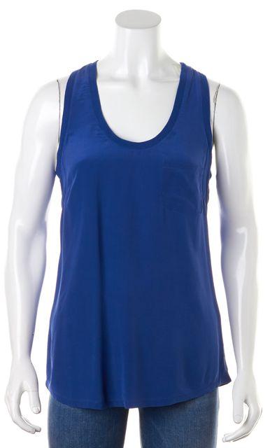 JOIE Royal Blue Silk Sleeveless Racerback Ribbed Trim Tank Top Blouse
