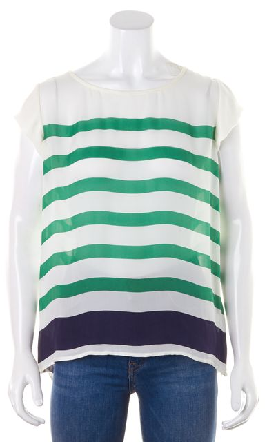 JOIE White Green Striped Cap Sleeve Casual Crepe Silk Blouse