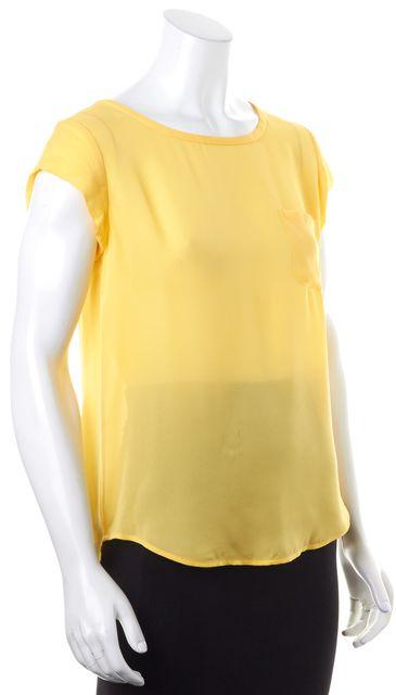 JOIE Bright Yellow Super Sheer Short Sleeve Key Hole Blouse