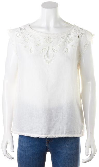 JOIE White Cotton Linen Sheer Crochet Trim Blouse Top